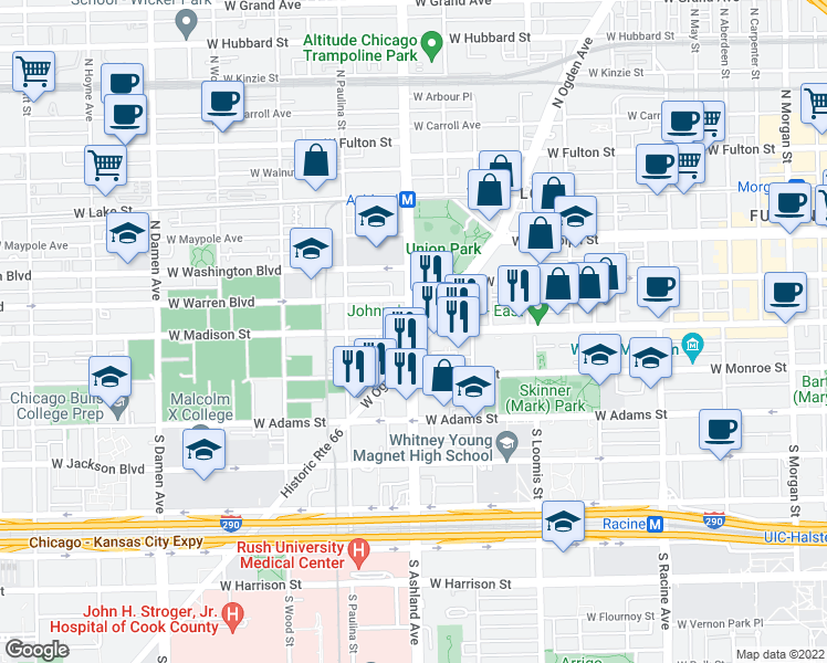 map of restaurants, bars, coffee shops, grocery stores, and more near North Ashland Avenue & West Madison Street in Chicago