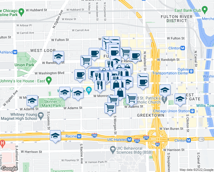 map of restaurants, bars, coffee shops, grocery stores, and more near 1025 West Madison Street in Chicago