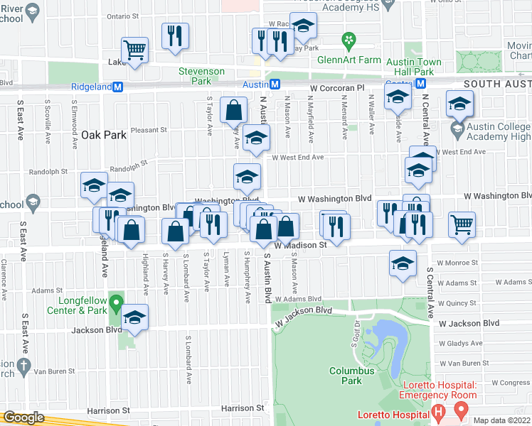 map of restaurants, bars, coffee shops, grocery stores, and more near 49 North Austin Boulevard in Chicago
