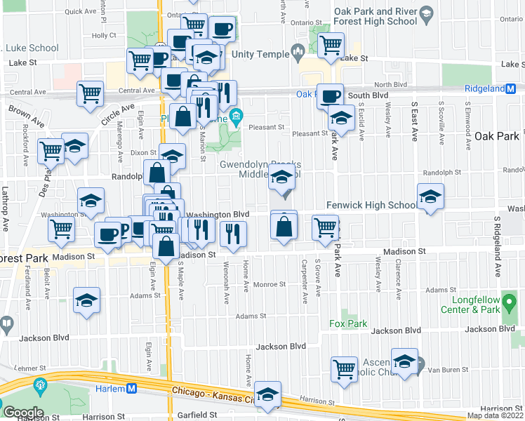map of restaurants, bars, coffee shops, grocery stores, and more near 950 Washington Boulevard in Oak Park