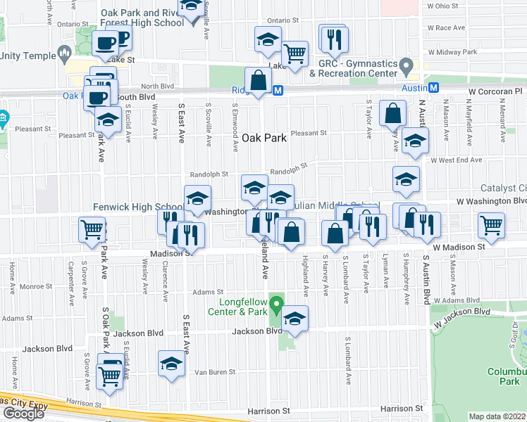map of restaurants, bars, coffee shops, grocery stores, and more near Washington Blvd & S Ridgeland Ave in Oak Park
