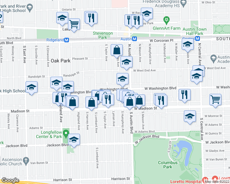 map of restaurants, bars, coffee shops, grocery stores, and more near 45 Washington Boulevard in Oak Park