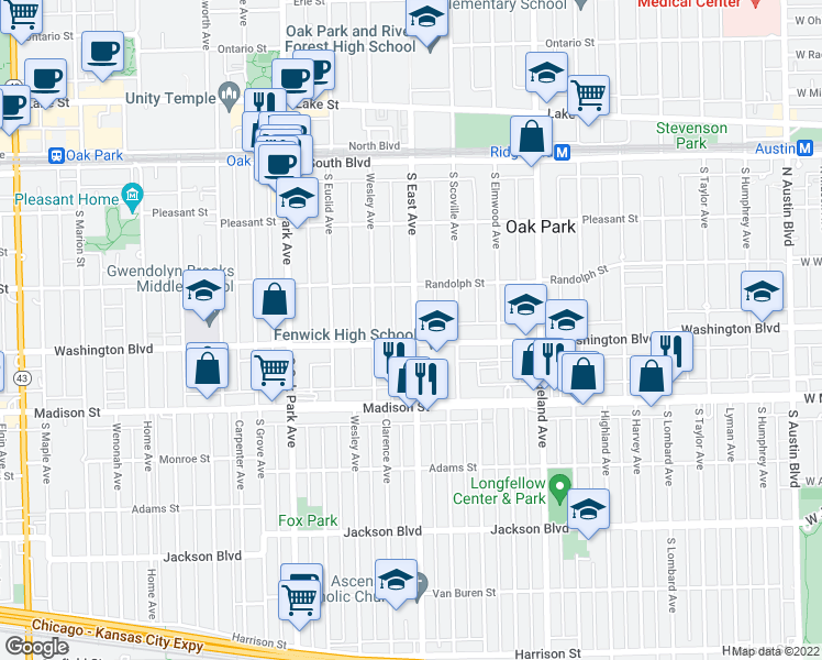 map of restaurants, bars, coffee shops, grocery stores, and more near 333 South East Avenue in Oak Park