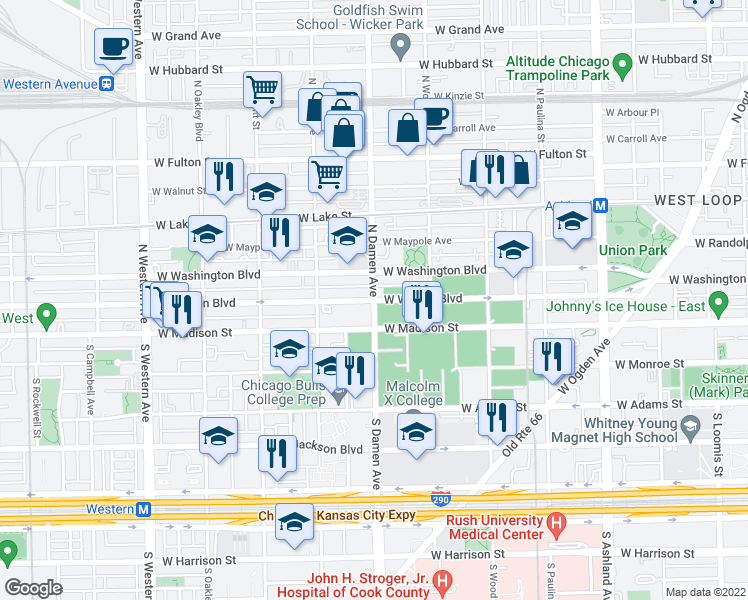 map of restaurants, bars, coffee shops, grocery stores, and more near N Damen Ave & W Warren Blvd in Chicago
