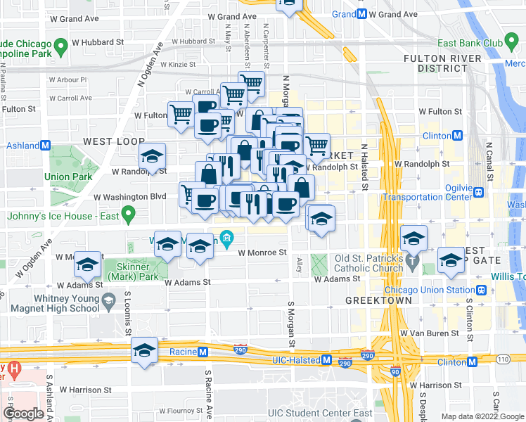 map of restaurants, bars, coffee shops, grocery stores, and more near 18 North Carpenter Street in Chicago