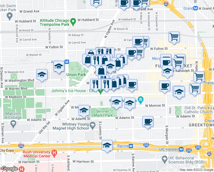 map of restaurants, bars, coffee shops, grocery stores, and more near 1327 West Washington Boulevard in Chicago