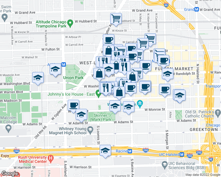 map of restaurants, bars, coffee shops, grocery stores, and more near 1301 West Washington Boulevard in Chicago