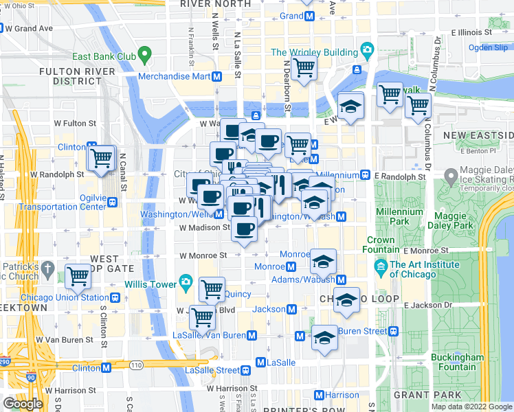 map of restaurants, bars, coffee shops, grocery stores, and more near 111 West Washington Street in Chicago