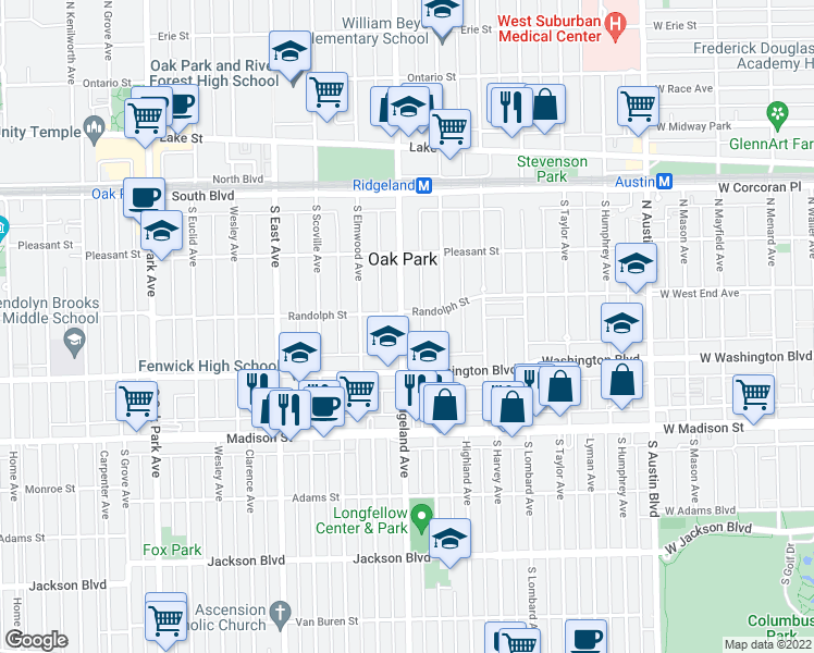 map of restaurants, bars, coffee shops, grocery stores, and more near 322 South Ridgeland Avenue in Oak Park