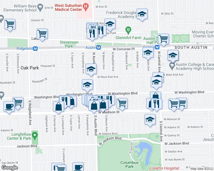 map of restaurants, bars, coffee shops, grocery stores, and more near 129 North Mason Avenue in Chicago