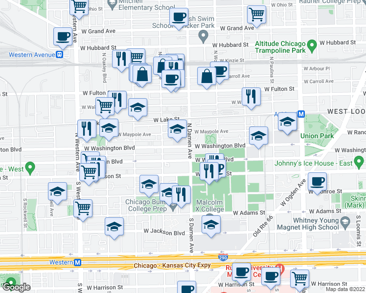 map of restaurants, bars, coffee shops, grocery stores, and more near West Washington Boulevard in Chicago