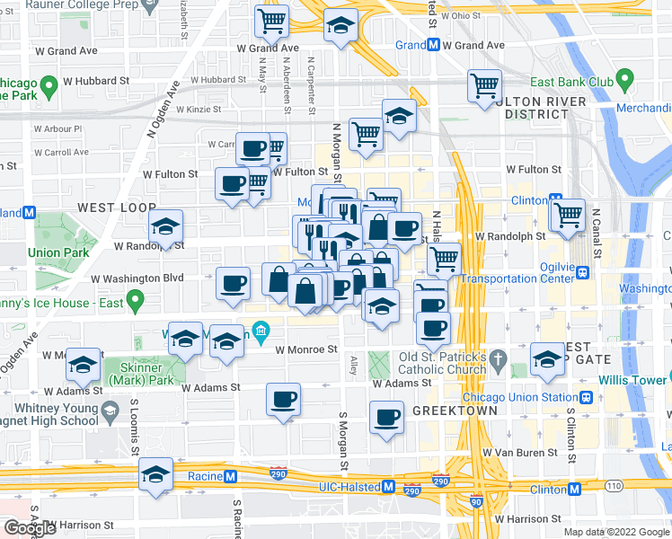 map of restaurants, bars, coffee shops, grocery stores, and more near 1000 West Washington Boulevard in Chicago