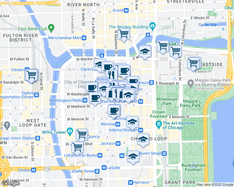 map of restaurants, bars, coffee shops, grocery stores, and more near 100 North Dearborn Street in Chicago