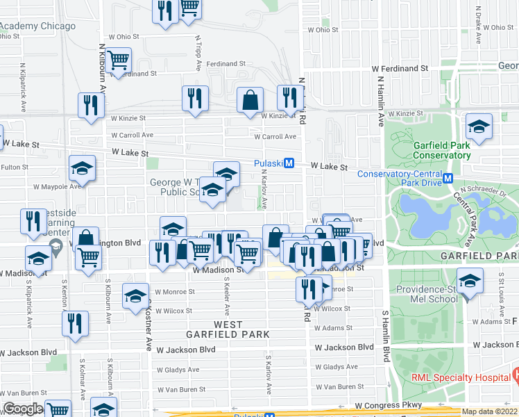 map of restaurants, bars, coffee shops, grocery stores, and more near 4100 West West End Avenue in Chicago