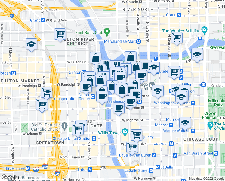 map of restaurants, bars, coffee shops, grocery stores, and more near 148 North Upper Wacker Drive in Chicago