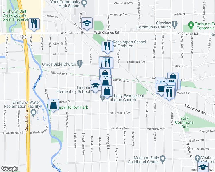 map of restaurants, bars, coffee shops, grocery stores, and more near in Elmhurst