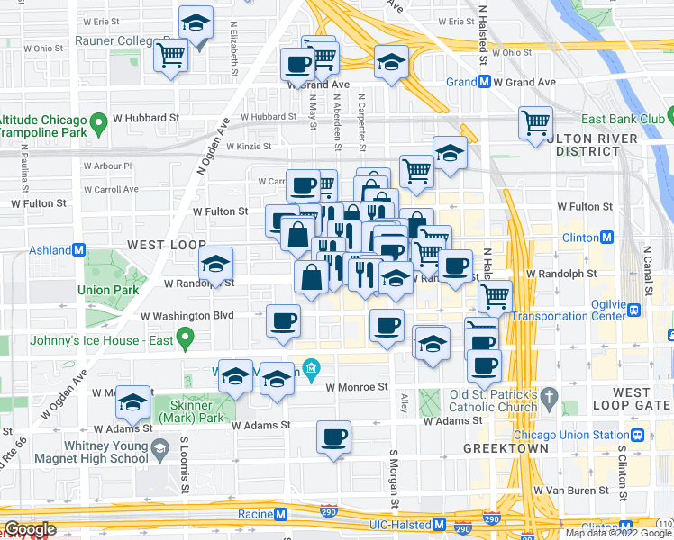 map of restaurants, bars, coffee shops, grocery stores, and more near 1100 West Randolph Street in Chicago