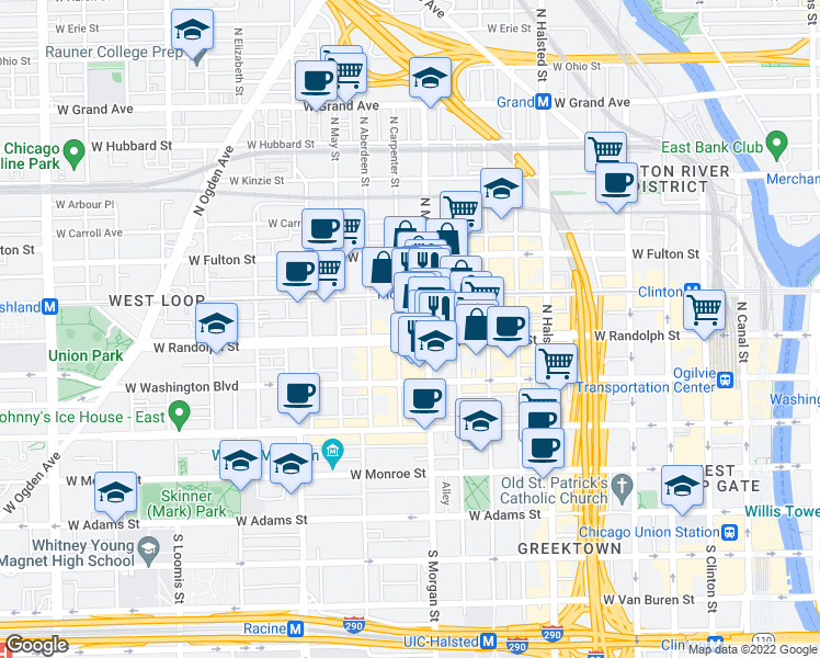 map of restaurants, bars, coffee shops, grocery stores, and more near 1012 West Randolph Street in Chicago