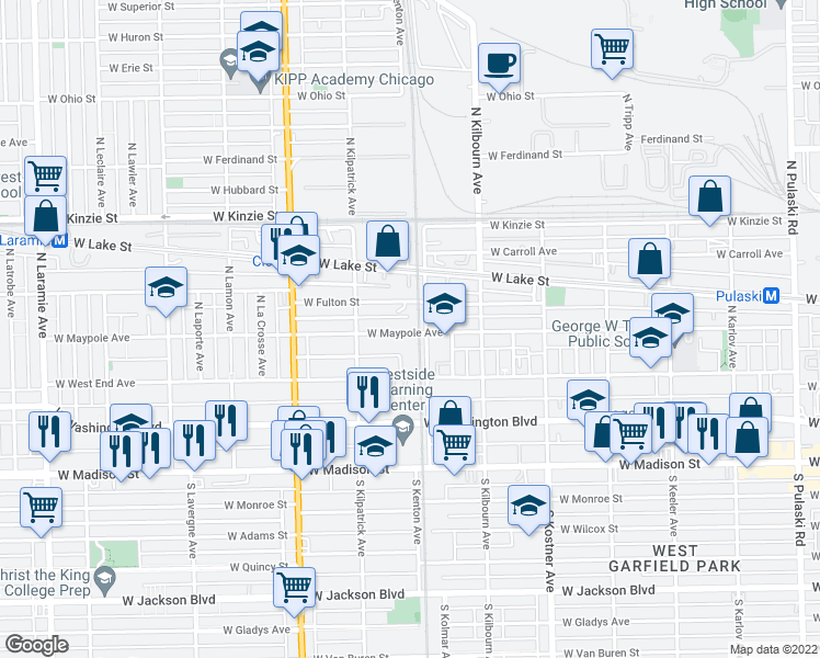 map of restaurants, bars, coffee shops, grocery stores, and more near 4622 West Maypole Avenue in Chicago