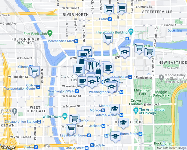 map of restaurants, bars, coffee shops, grocery stores, and more near North Clark Street in Chicago