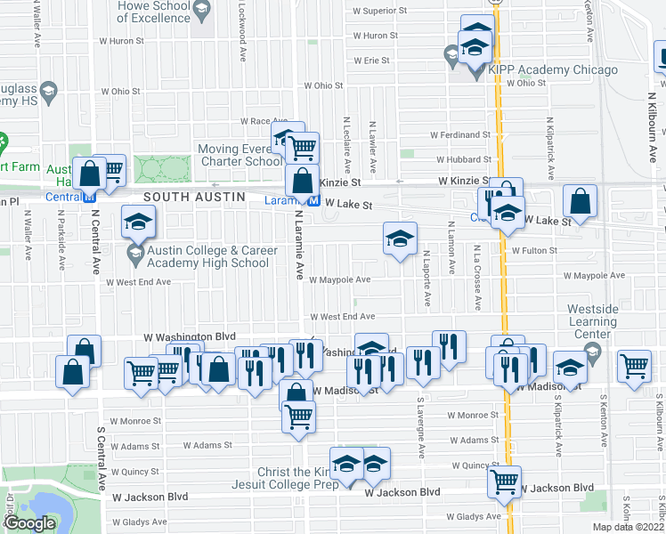 map of restaurants, bars, coffee shops, grocery stores, and more near 211 North Leamington Avenue in Chicago