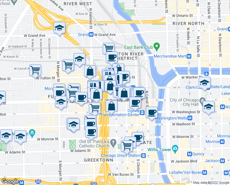 map of restaurants, bars, coffee shops, grocery stores, and more near 172 North Desplaines Street in Chicago