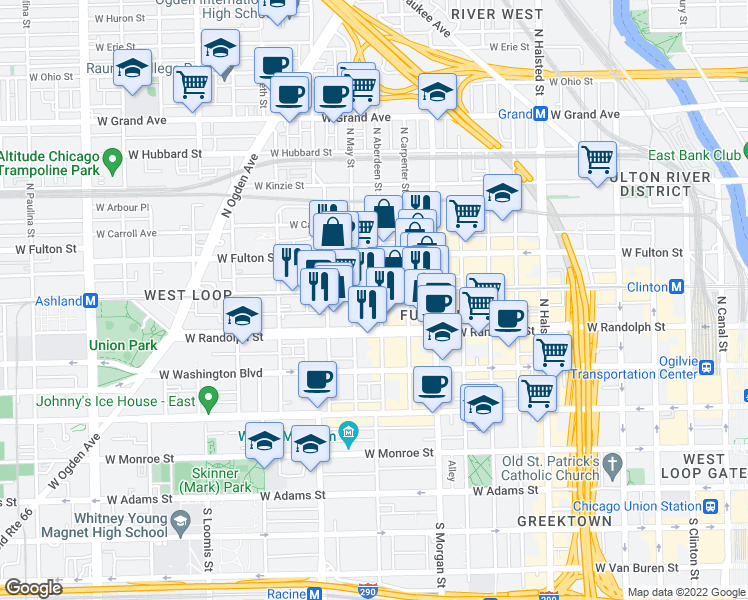 map of restaurants, bars, coffee shops, grocery stores, and more near 1101 West Lake Street in Chicago