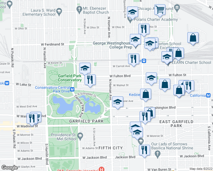 map of restaurants, bars, coffee shops, grocery stores, and more near 3417 West Walnut Street in Chicago