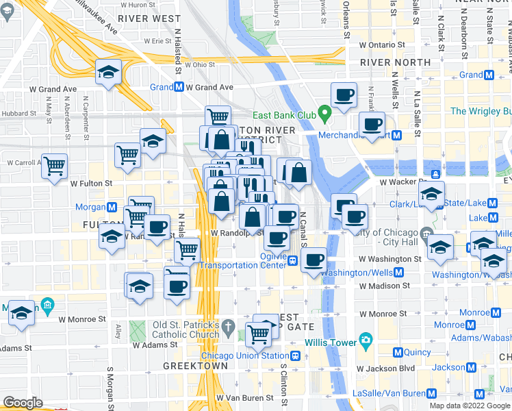map of restaurants, bars, coffee shops, grocery stores, and more near West Lake Street & North Jefferson Street in Chicago