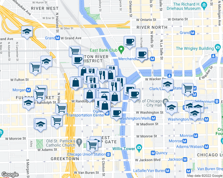 map of restaurants, bars, coffee shops, grocery stores, and more near West Lake Street & North Canal Street in Chicago