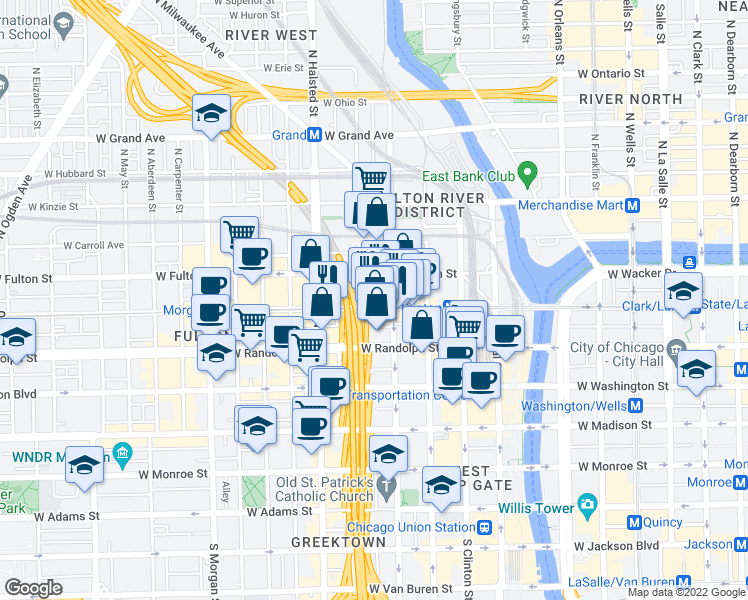 map of restaurants, bars, coffee shops, grocery stores, and more near 660 West Lake Street in Chicago