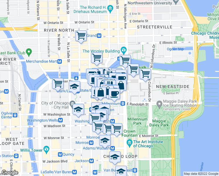 map of restaurants, bars, coffee shops, grocery stores, and more near 30 East Lake Street in Chicago