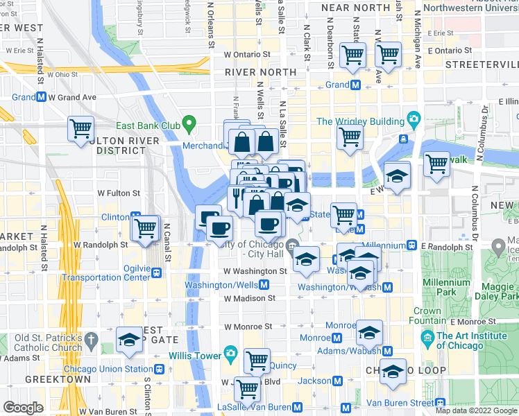 map of restaurants, bars, coffee shops, grocery stores, and more near 210 North Wells Street in Chicago