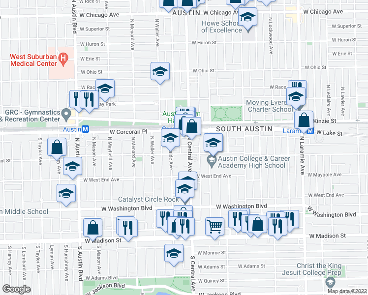 map of restaurants, bars, coffee shops, grocery stores, and more near 312 North Central Avenue in Chicago