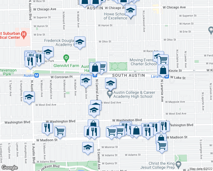 map of restaurants, bars, coffee shops, grocery stores, and more near 310 North Pine Avenue in Chicago