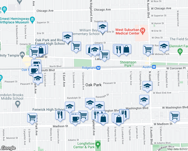 map of restaurants, bars, coffee shops, grocery stores, and more near 106 South Ridgeland Avenue in Oak Park
