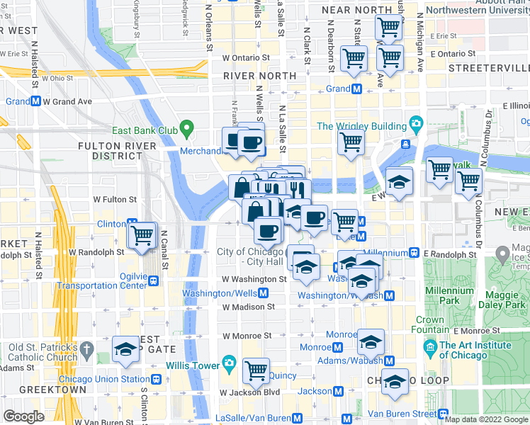 map of restaurants, bars, coffee shops, grocery stores, and more near 213 North Wells Street in Chicago