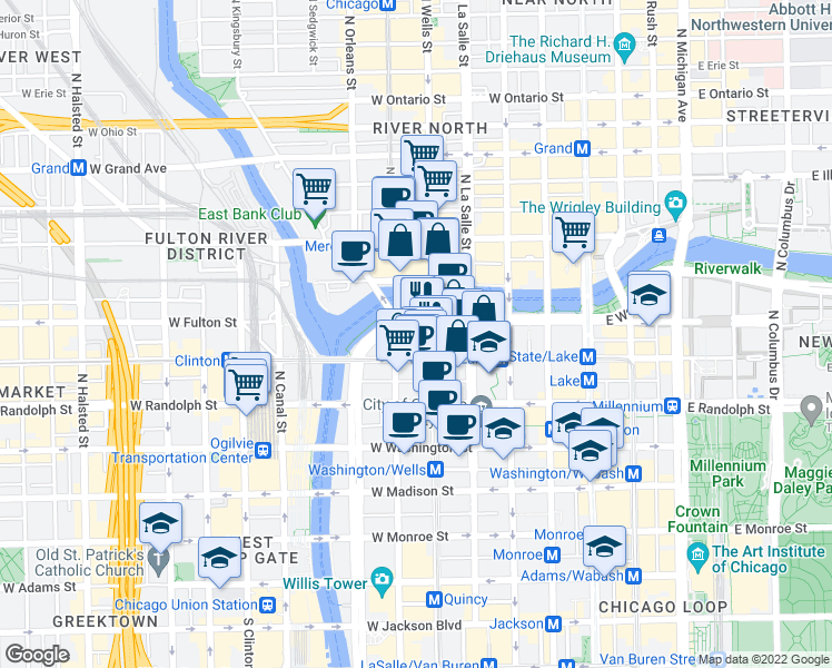 map of restaurants, bars, coffee shops, grocery stores, and more near 211 West Upper Wacker Drive in Chicago