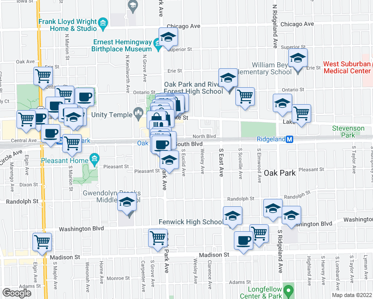 map of restaurants, bars, coffee shops, grocery stores, and more near 110 South Euclid Avenue in Oak Park