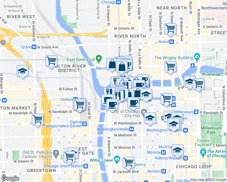 map of restaurants, bars, coffee shops, grocery stores, and more near 344 West Wacker Drive in Chicago