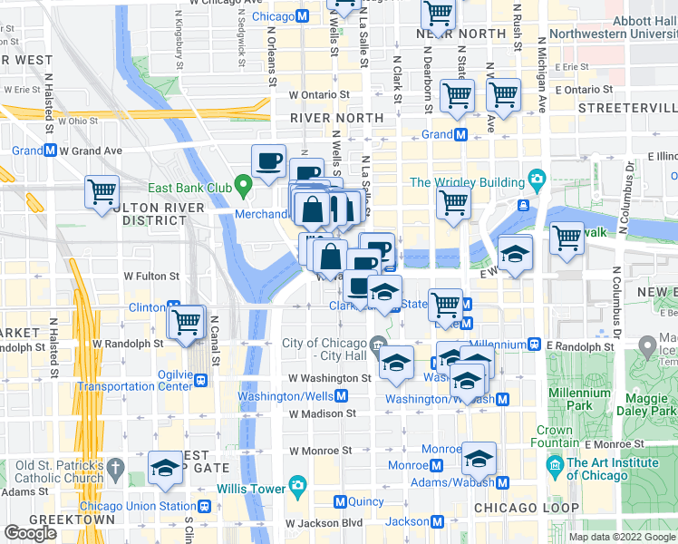 map of restaurants, bars, coffee shops, grocery stores, and more near W Wacker Dr & N Wells St in Chicago