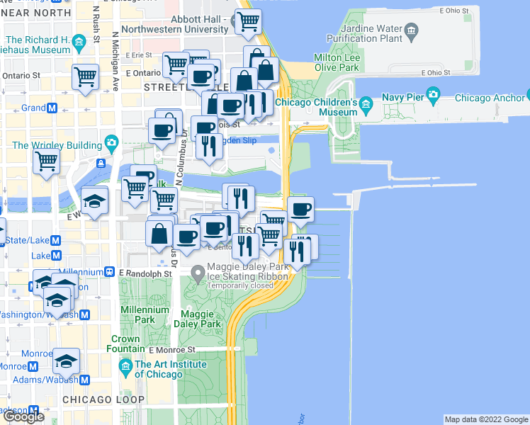 map of restaurants, bars, coffee shops, grocery stores, and more near 450 East Waterside Drive in Chicago