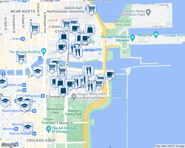 map of restaurants, bars, coffee shops, grocery stores, and more near 420 East Waterside Drive in Chicago