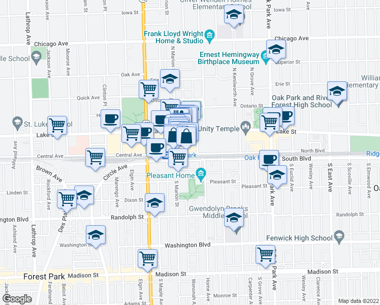 map of restaurants, bars, coffee shops, grocery stores, and more near 1002 1/2 North Boulevard in Oak Park