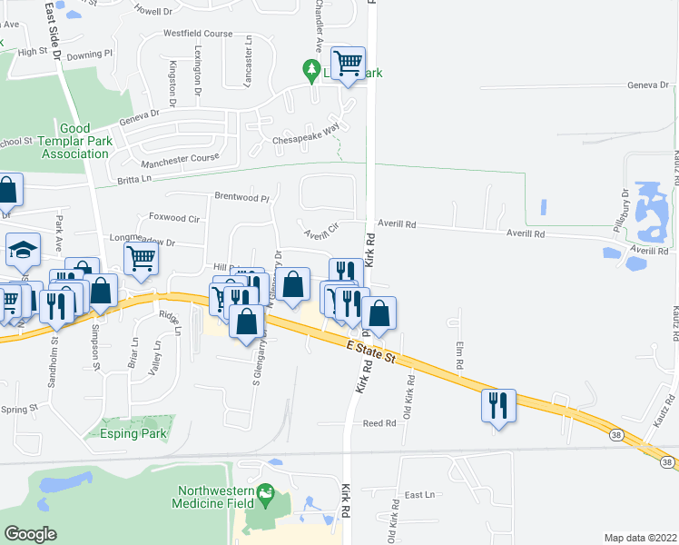 map of restaurants, bars, coffee shops, grocery stores, and more near 1409 Hill Road in Geneva