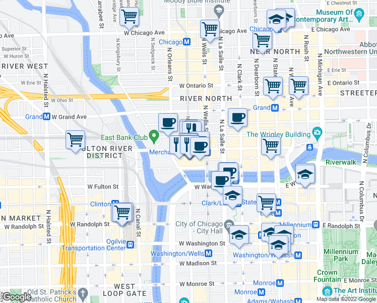 map of restaurants, bars, coffee shops, grocery stores, and more near Kinzie Street in Chicago