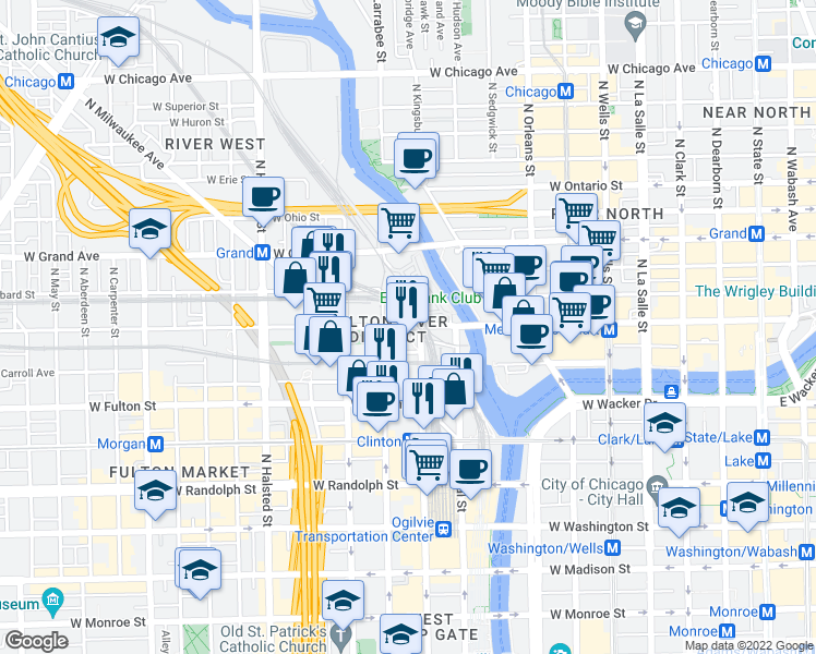 map of restaurants, bars, coffee shops, grocery stores, and more near 566 West Kinzie Street in Chicago
