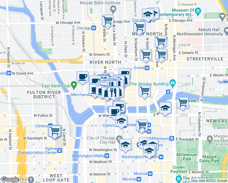 map of restaurants, bars, coffee shops, grocery stores, and more near 400 North LaSalle Street in Chicago