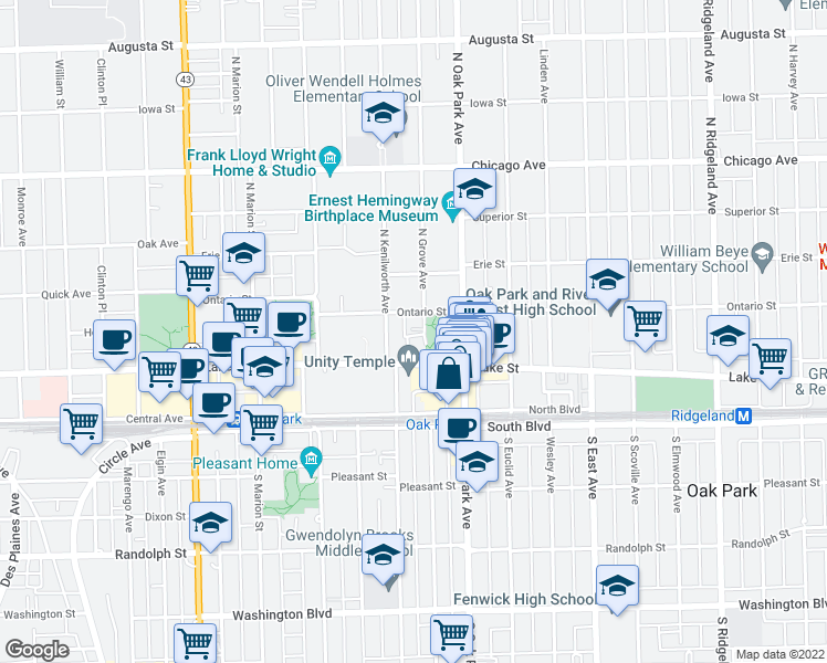 map of restaurants, bars, coffee shops, grocery stores, and more near 169 North Grove Avenue in Oak Park