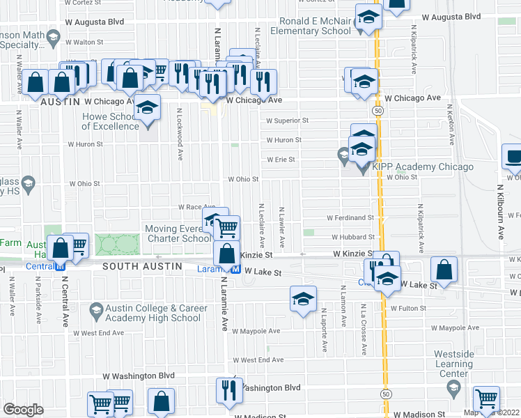 map of restaurants, bars, coffee shops, grocery stores, and more near 528 North Leclaire Avenue in Chicago